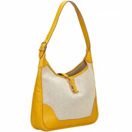 Hermes Yellow and White Canvas Trim 31 Shoulder Bag 143290