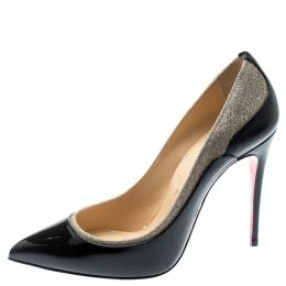 Christian Louboutin Black Patent Leather And Glitter Tucsick Pointed Toe Pumps Size 37.5 193998