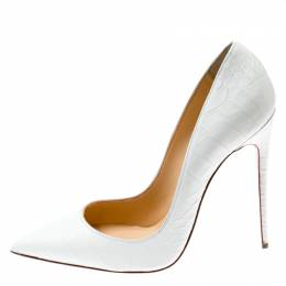 Christian Louboutin White Crocodile Leather So Kate Pointed Toe Pumps Size 38.5 198253