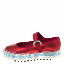 Marc Jacobs Metallic Red Leather Suzi Crystal Embellished Brooch Mary Jane Espadrille Platforms Size 38