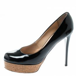 Giuseppe Zanotti Design Black Patent Leather Cork Platform Pumps Size 38.5 195014
