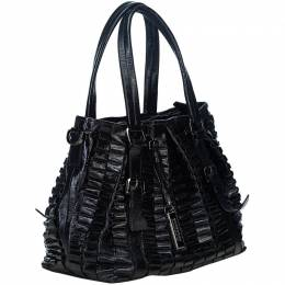 Burberry Black Pleated Leather Tote Bag 186256