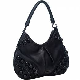 Burberry Black Embellished Leather Hobo Bag 186258