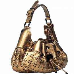 Burberry Metallic Gold Leather Warrior Hobo Bag 186441