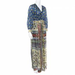 Alberta Ferretti Printed Silk Lurex Jacquard Peasant Sleeve Maxi Dress S