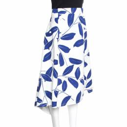 Marni White and Blue Leaf Print Cotton and Linen Drill Wrap Skirt M 155524