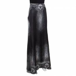 Just Cavalli Metallic Black Printed Satin Maxi Skirt M 157026
