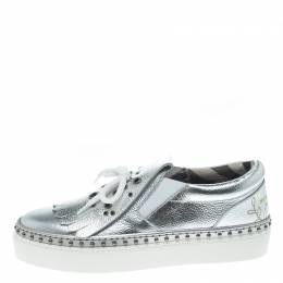 Burberry Metallic Silver Kiltie Fringe Detail Slip On Sneakers Size 37 155545