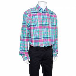 Ralph Lauren Multicolor Checked Cotton Logo Embroidered Slim Fit Shirt XL 155765