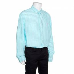 Ralph Lauren Ocean Wash Blue and White Striped Linen Slim Fit Shirt XXL 155776