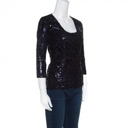 Just Cavalli Purple and Black Flocked Embellished Long Sleeve Top S 154887