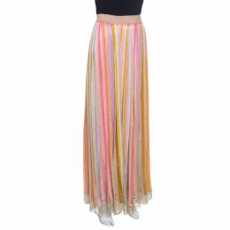 Missoni Multicolor Striped Perforated Lurex Knit Maxi Skirt L 151205
