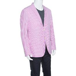 Etro Pink and White Striped Cotton Tailored Superleggera Blazer XL 151831