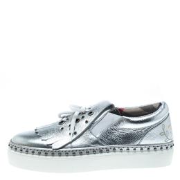Burberry Metallic Silver Kiltie Fringe Detail Slip On Sneakers Size 37.5 153548