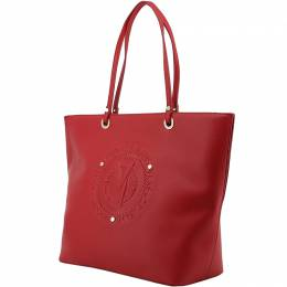 Versace Jeans Red Faux Leather Shopper Tote