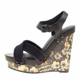 Bottega Veneta Black Leather and Canvas Floral Printed Wooden Wedge Cross Strap Sandals Size 40.5