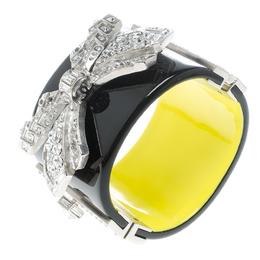 Chanel Crystal Embellished Black Resin Silver Tone Wide Cuff Bracelet 17cm 149145