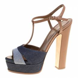 Sergio Rossi Brown/Blue Denim and Leather Platform Sandals Size 39.5 148404