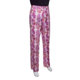 Etro Multicolor Floral Printed Linen Straight Fit Pants L 149910