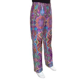 Etro Purple Paisley Printed Cotton Trousers L 149913