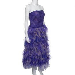 Tadashi Shoji Purple and Begie Tulle Embroidered Faux Feather Strapless Dress S