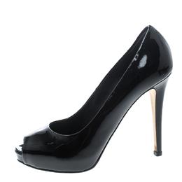 Le Silla Black Patent Leather Gabry Peep Toe Platform Pumps Size 36 147825