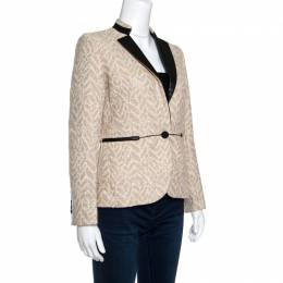 Zadig & Voltaire Beige Lurex Detail Leather Trim Detail Victana Deluxe Blazer S 149570