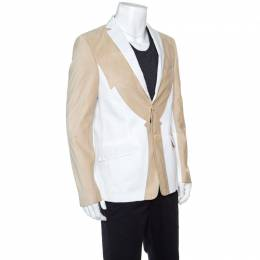 Etro Beige and White Faux Suede Patch Detail Two Button Blazer XL 149575