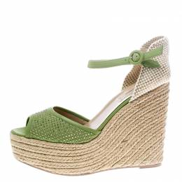 Valentino Green Studded Leather Espadrille Wedge Ankle Strap Sandals Size 41 149407