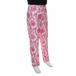 Etro White and Pink Paisley and Floral Printed Linen Mexico Trousers L 149370