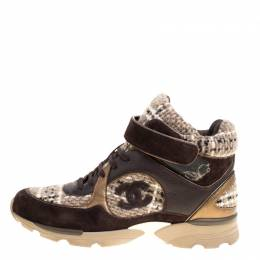 Chanel Brown Woolen Tweed and Metallic Leather Lace Up Sneakers Size 43 147328