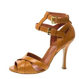 Sergio Rossi Orange Leather Cross Strap Peep Toe Sandals Size 38 142154