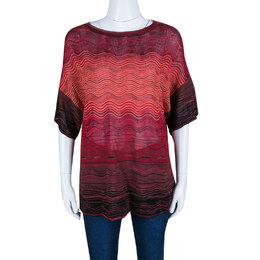 M Missoni Multicolor Wave Pattern Knit Oversized Top S 140330