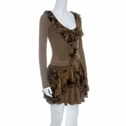 Just Cavalli Brown Knit Burnout Velvet Flounce Detail Top and Skirt Set M 142589