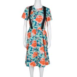 Marc By Marc Jacobs Pale Jade Jerrie Rose Printed Cotton Poplin Dress M 138789