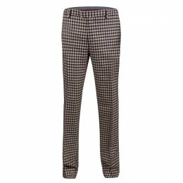 Etro Beige and Brown Wool Gingham Plaid Regular Fit Mexico Trousers M 138673