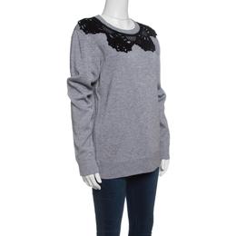 Marc Jacobs Grey Contrast Crochet Collar Detail Sweatshirt S 141481