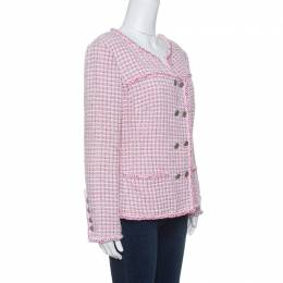 Chanel Pink and White Textured Double Breasted Jacket L 142728