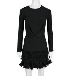 Carven Black Moroccan Crepe Ruffled Bottom Long Sleeve Dress S 139660