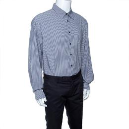 Armani Collezioni Grey Striped Long Sleeve Button Front Shirt XXL