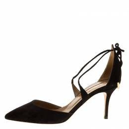 Aquazzura Black Suede Matilde Cross Straps Sandals Size 37 138960