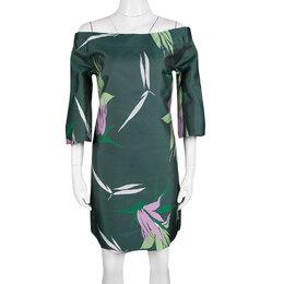 Marni Spherical Green Jacquard Kapfu Motif Off Shoulder Shift Dress M 140161