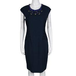 Matthew Williamson Navy Blue Smocked Waist Detail Embellished Neck Sleeveless Dress M 138526