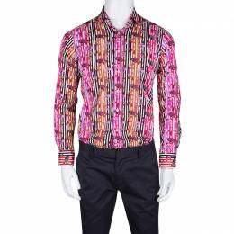 Etro Multicolor Fish Print Striped Cotton Long Sleeve Button Front Shirt XL 134612