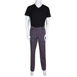 Etro Multicolor Plaid Checked Cotton Trousers L 133286