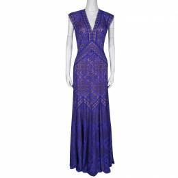 Tadashi Shoji Purple and Beige Floral Embroidered Lace Maxi Dress L