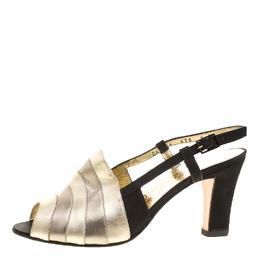 Salvatore Ferragamo Metallic Striped Leather Peep Toe Sandals Size 38.5 136686