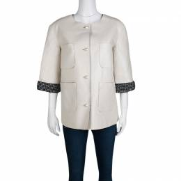 Chanel Off White Lambskin Leather Contrast Lined Pearl Buttoned Jacket M 135617