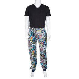 Etro Multicolor Printed Jersey Jogger Pants XL 134396