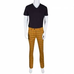 Etro Mustard Checked Wool Panama Slim Fit Trousers L 134658